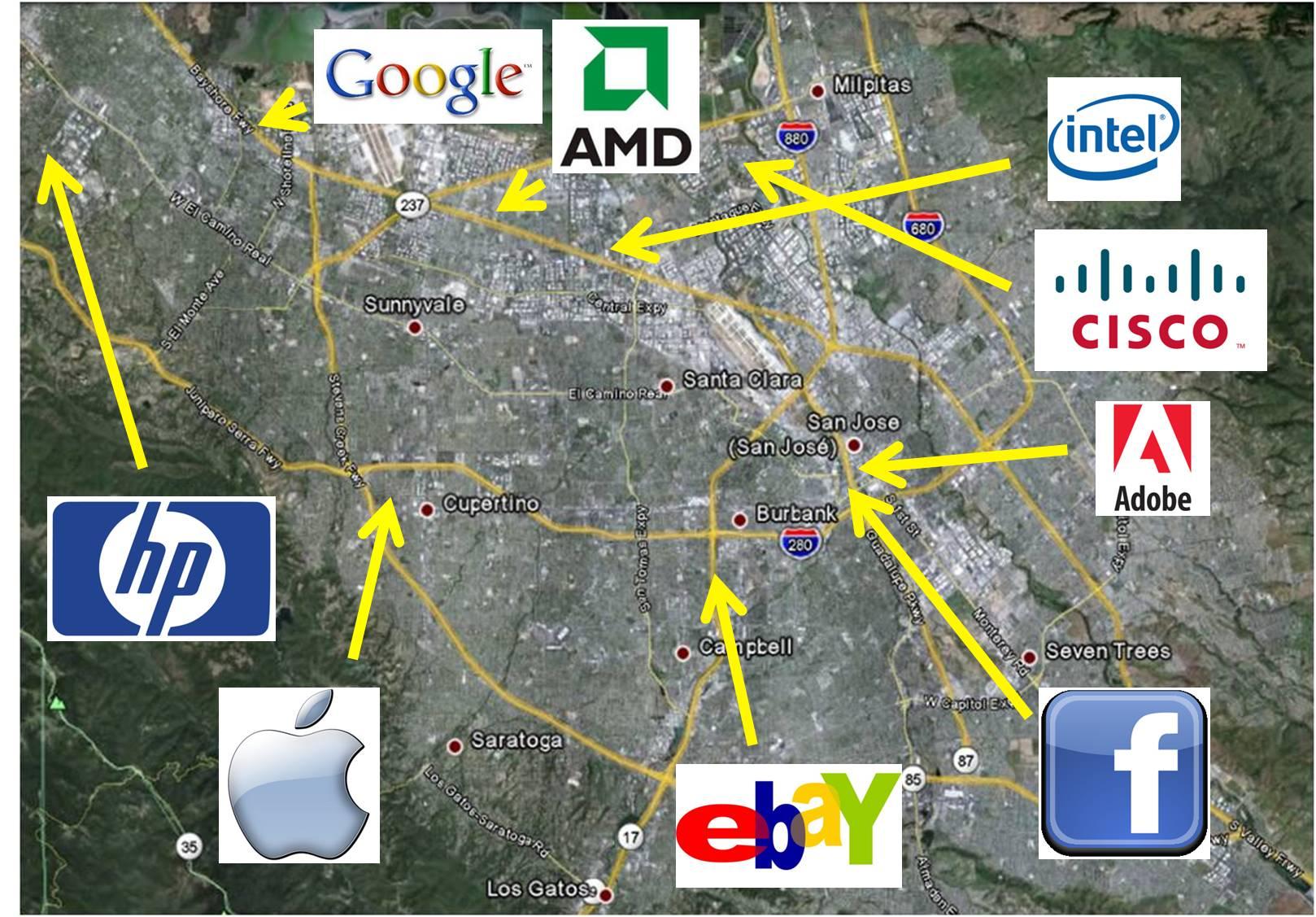 Silicon Valley - Map of major vendors