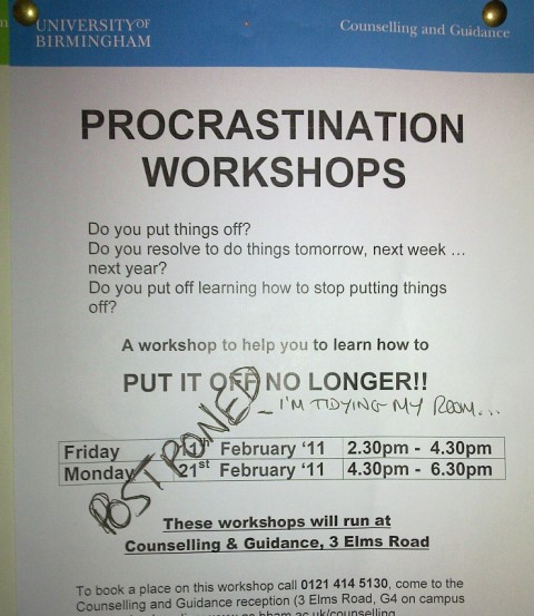 Procrastination workshops postponed
