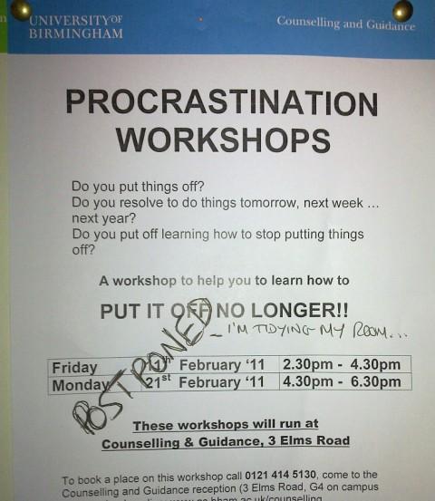 Procrastination workshops postponed