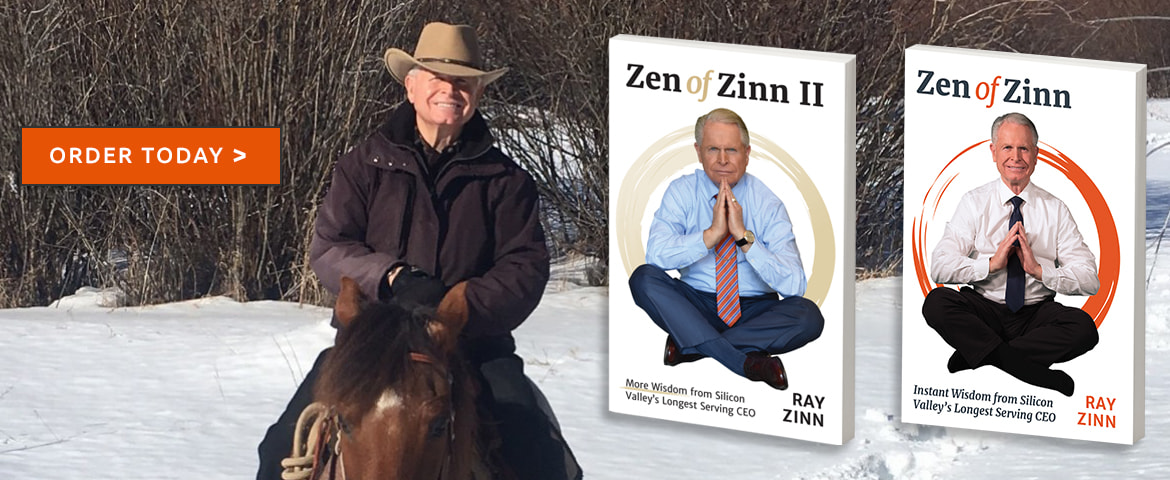 Ray Zinn riding horse in the snow. Zen of Zinn and Zen of Zinn 2 books. Purchase today.